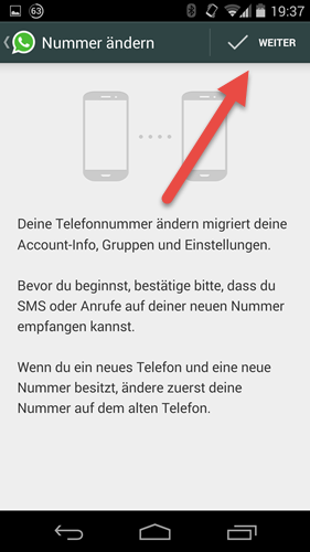 Android WhatsApp einstellungen Account nummer aendern weiter