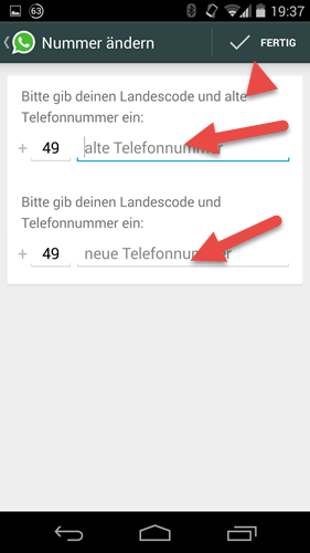 Android WhatsApp nummer aendern