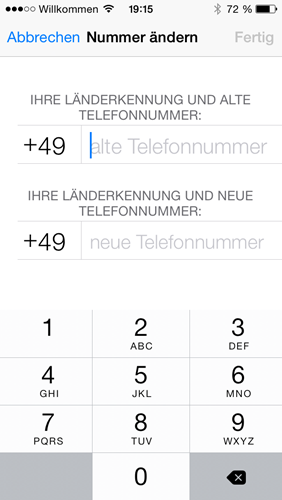 iphone nummer aendern nummer eingeben