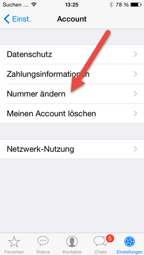 iphone WhatsApp einstellungen Account nummer aendern