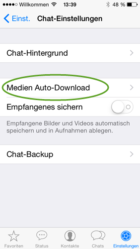whatsapp-chat medien Auto-download