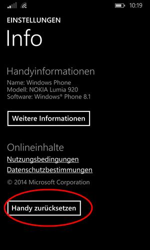 Windows Phone 8 1 einstellungen info handy zurücksetzen
