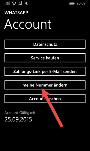 windows phone Telefonnummer in WhatsApp aendern meine