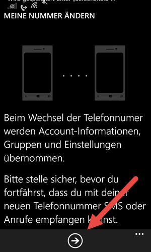 windows phone Telefonnummer in WhatsApp aendern weiter