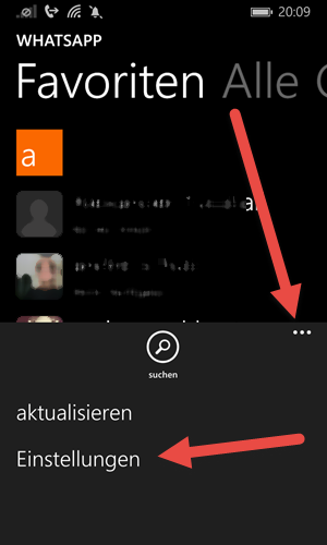windows phone Telefonnummer in WhatsApp aendern