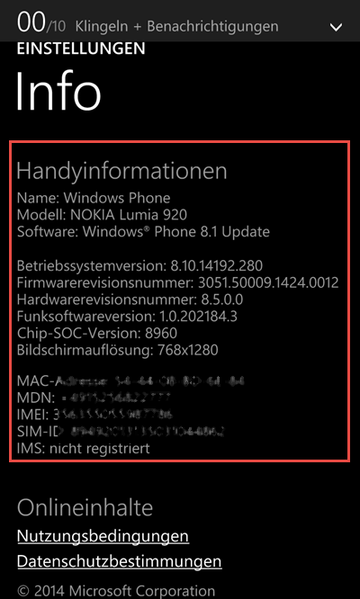 Windows Phone Weitere Informationen