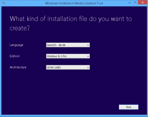 windows installtion Media cration Tool