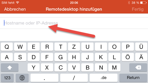Microsoft Remote Desktop App- iPhone hostname ip