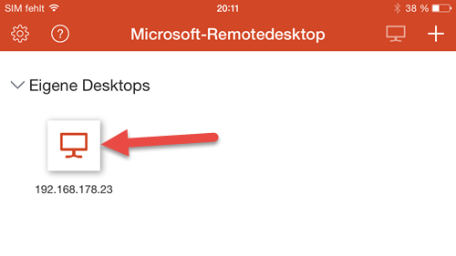 Microsoft Remote Desktop App- iPhone windows fertig eingerichtet