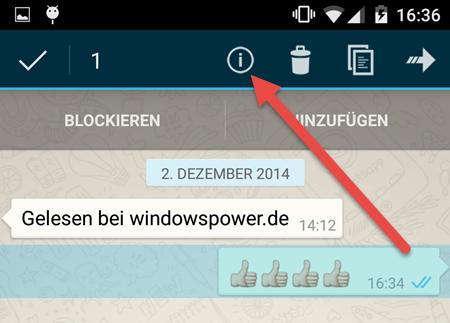 Nachricht Android info WhatsApp – Wann ist die Nachrichten gelesen worden?