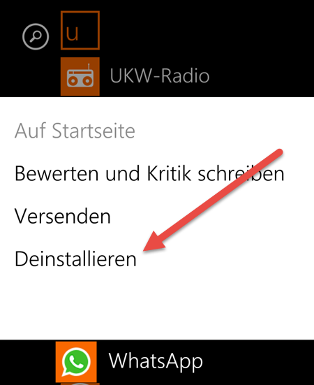 WhatsApp Deinstallieren entfernen Windows Phone