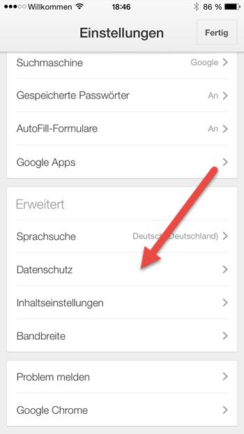 iphone chrome Datenschutz iphone-chrome-datenschutz