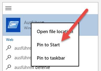 Pin to Start pin-to-start