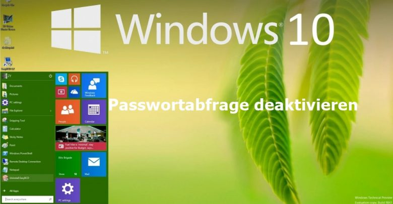 Windows 10 Passwortabfrage deaktivieren 0