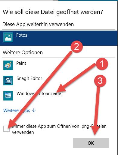 Immer diese App zum oeffnen von Standardprogramm festlegen auswählen unter Windows 10