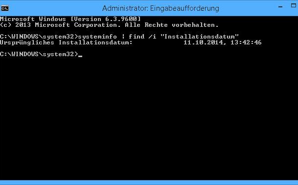 installations datum und uhrzeit anzeigen von windows - Installations-Datum und -Uhrzeit anzeigen von Windows