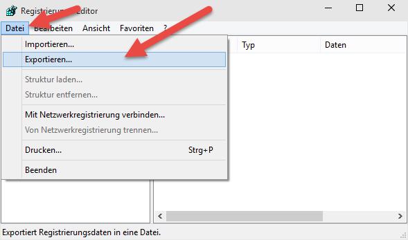 registry exportieren Windows 10 – Registry sichern, Backup erstellen