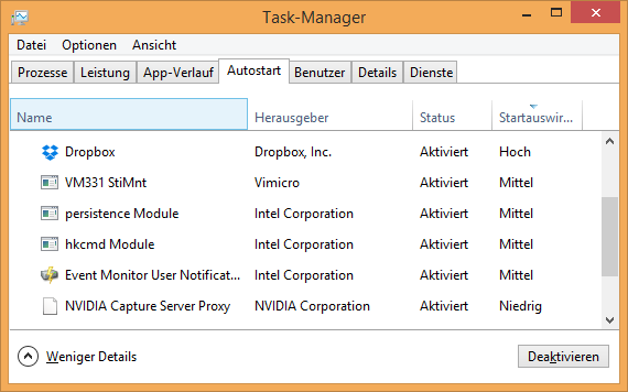 windows 8 1 task manager autostart - Windows 10 Autostart Programme deaktivieren