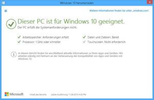 dieser pc ist für Windows 10 geeignet Überprüfen Sie ob Windows 10 auf Ihren PC läuft