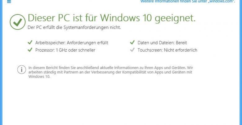 Überprüfen Sie ob Windows 10 auf Ihren PC läuft 0