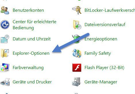 Explorer option -  unterstrichen explorer-option