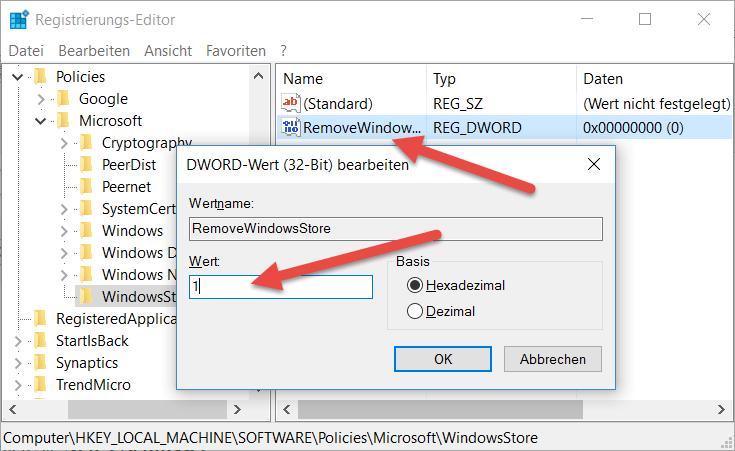 RemoveWindowsStore Windows App Store deaktivieren bei Windows 10