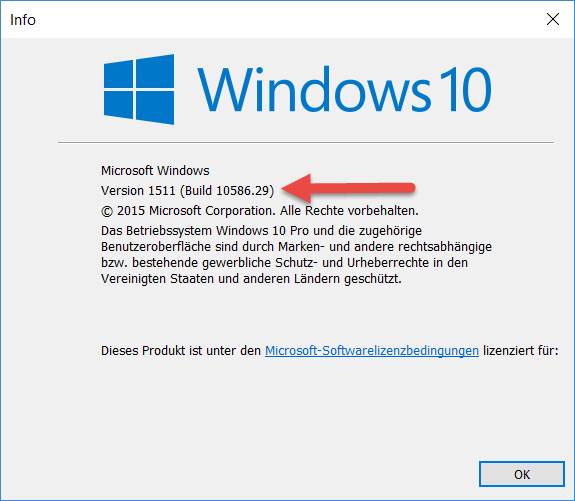 windows 10 Build Nummer