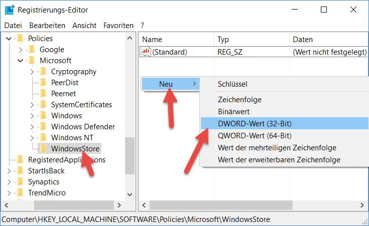 WindowsStore Windows App Store deaktivieren bei Windows 10