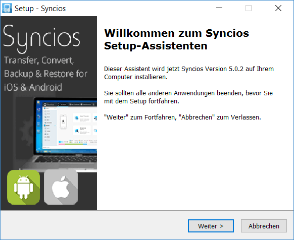 Syncios installation  installetion