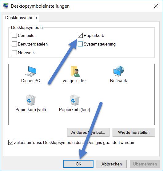 papierkorp Papierkorb bei Windows 10 verschwunden