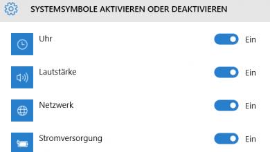 Systemsymbole aus der Taskleiste aktivieren deaktivieren