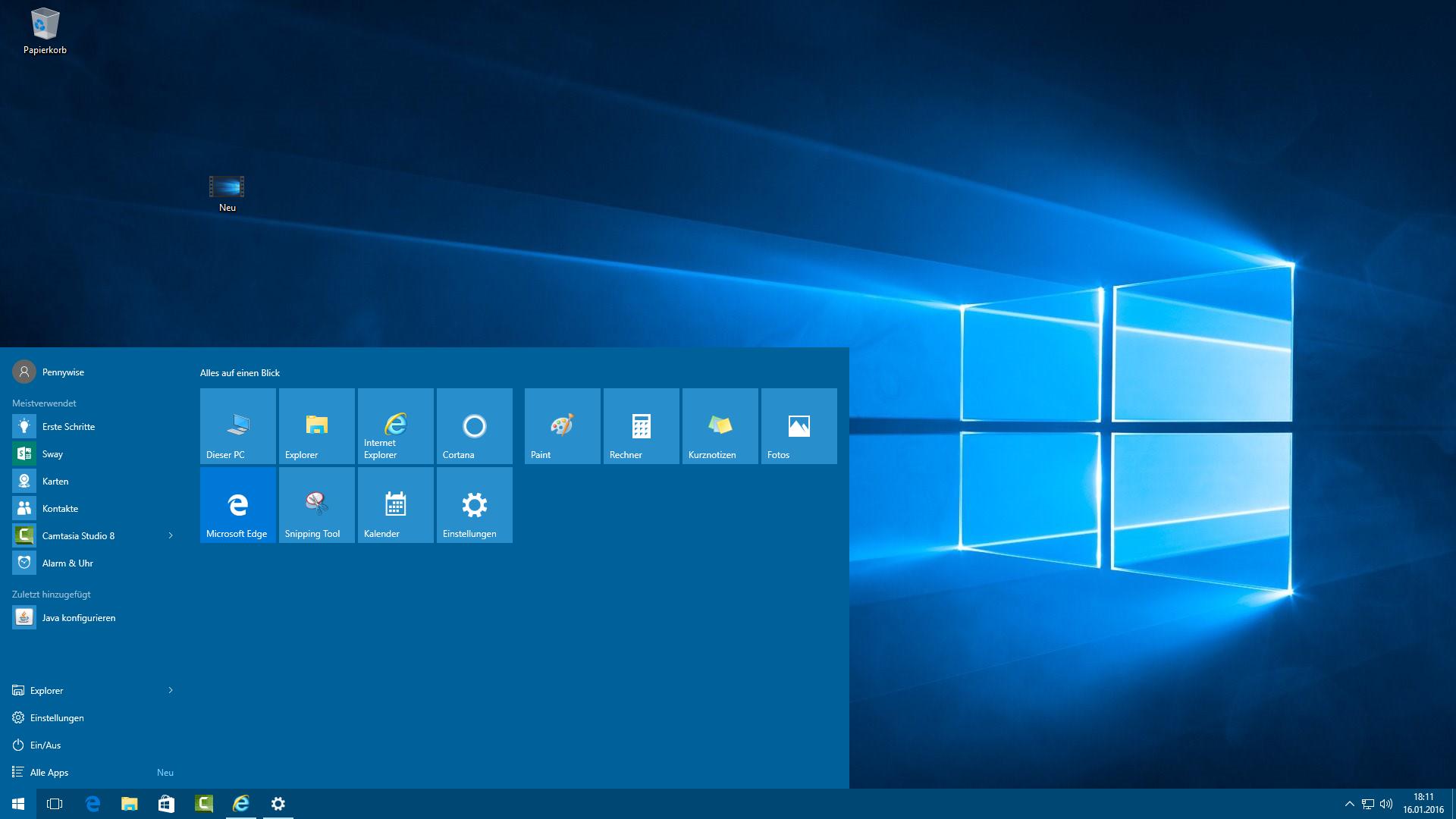 Bild von Windows 10: Vier Reihen Kacheln im Startmenü anzeigen