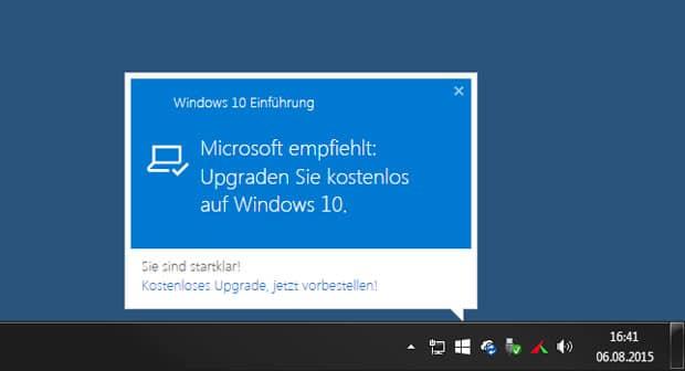 windows 10 einfuehrung taskelsite meldung - Windows 10 Zwangsupdate verhindern