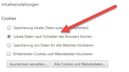 Chrome cache- Lokale Daten nach Beenden des Browsers