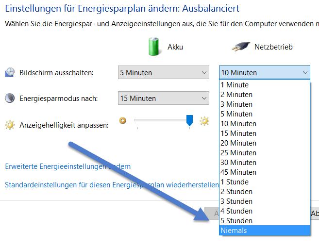 netzbetrieb Windows 10 Standby deaktivieren