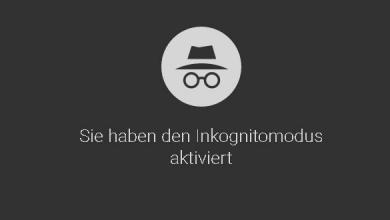 Bild von Chrome Browser im Inkognito-Modus starten