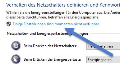 Einige Einstellungen sind momentan nicht verfuegbar Windows 10 lässt sich nicht herunterfahren