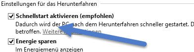 Schnellstart-aktivieren Windows 10 lässt sich nicht herunterfahren