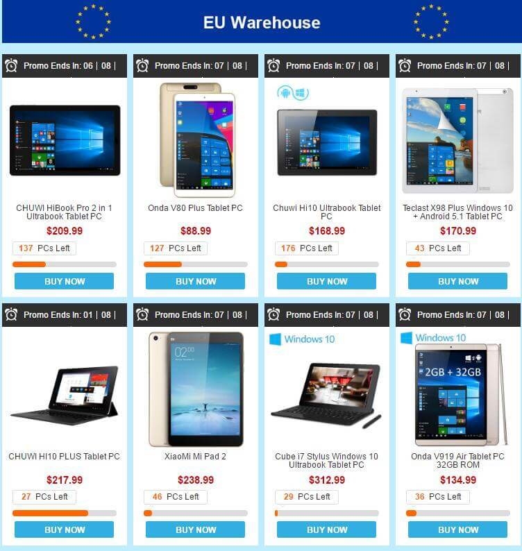 eu lager - EU Warehouse Promotion bei Gearbest – mit viele Tablets