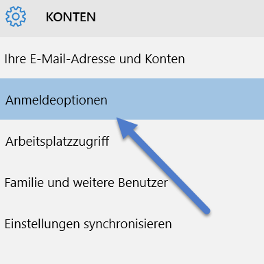 anmeldeoption - Windows 10: PIN zum entsperren des Computers einrichten