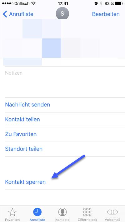 anrufer sperren - iPhone - Telefonnummer Kontakt blockieren und Anrufer sperren
