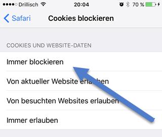 cookies immer blockieren - iPhone: Cookies blockieren