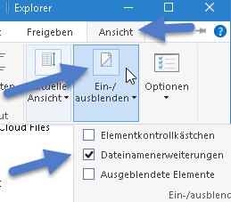 dateinamenerweiterungen - Windows 10 Dateiendungen anzeigen