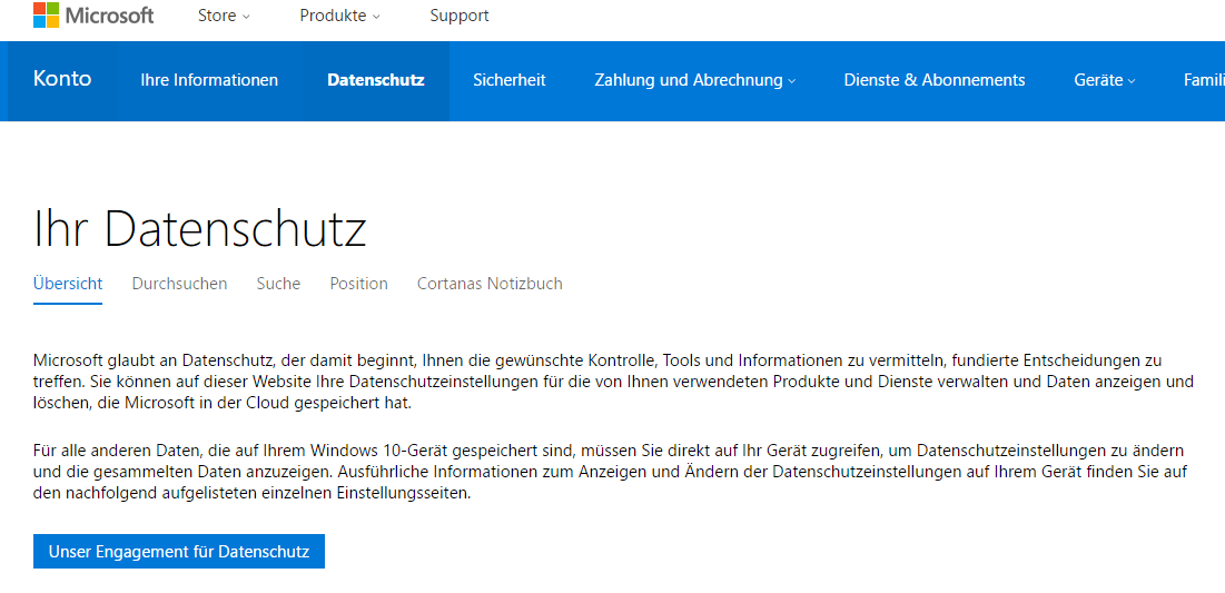 Bild von Windows 10 gesammelte Nutzerdaten anzeigen lassen & löschen