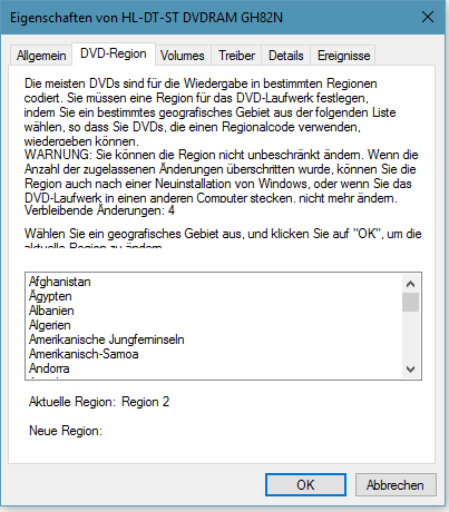 Bild von Windows 10 DVD-Region Code einstellen