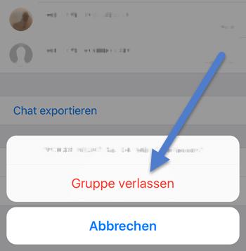 gruppeinfo - WhatsApp Gruppe verlassen bei iPhone Android