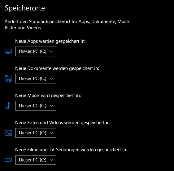 unbenannt 4 - Windows 10 Speicherorte ändern