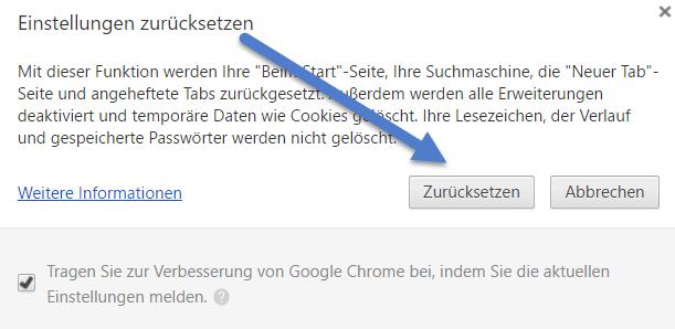 chrome einstellugen zuruecksetzen - Chrome Browser Einstellungen zurücksetzen