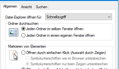 Windows 10: Einfach-Klick statt Doppelklick
