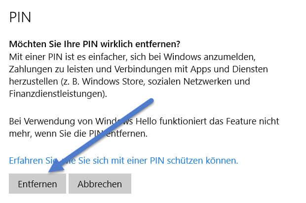 Windows 10 PIN entfernen